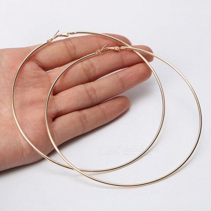 2pcs Smooth Circle Hoop Earrings Basketball Broncos Celebrity Brand Loop For Women Jewelry Gold
