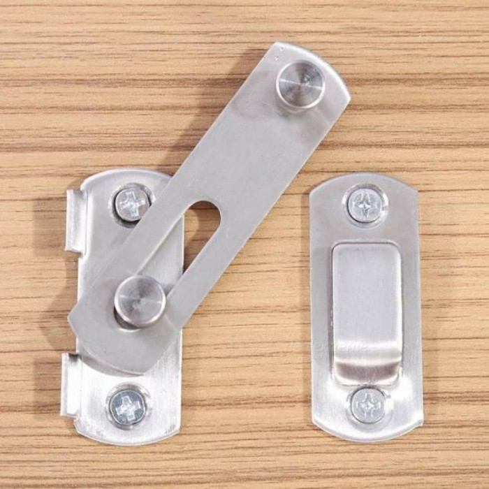 Hasp Latch Stainless Steel Hasp Latch Lock Sliding Door Lock for Window Cabinet Fitting Room Accessories Home Hardware Silver