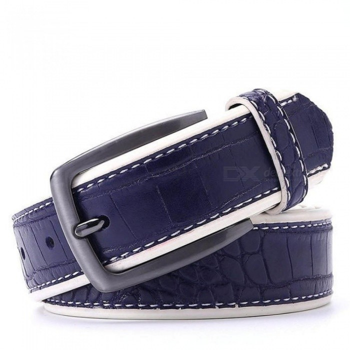 Men-PU-Crocodile-Belts-Faux-Leather-Alligator-Pattern-Designer-Belt-Black-Dark-Brown-Dark-Blue-Grey-Yellow-Brown-Color-to-Choose-130cm-44to47-InchDar