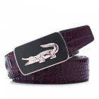 Crocodile-Pattern-Belt-Fashion-Luxury-Alligator-Automatic-Buckle-Belts-without-Buckle-Tooth-On-Strap-Novelty-Mens-Belt-110cm-35to39-InchBlack