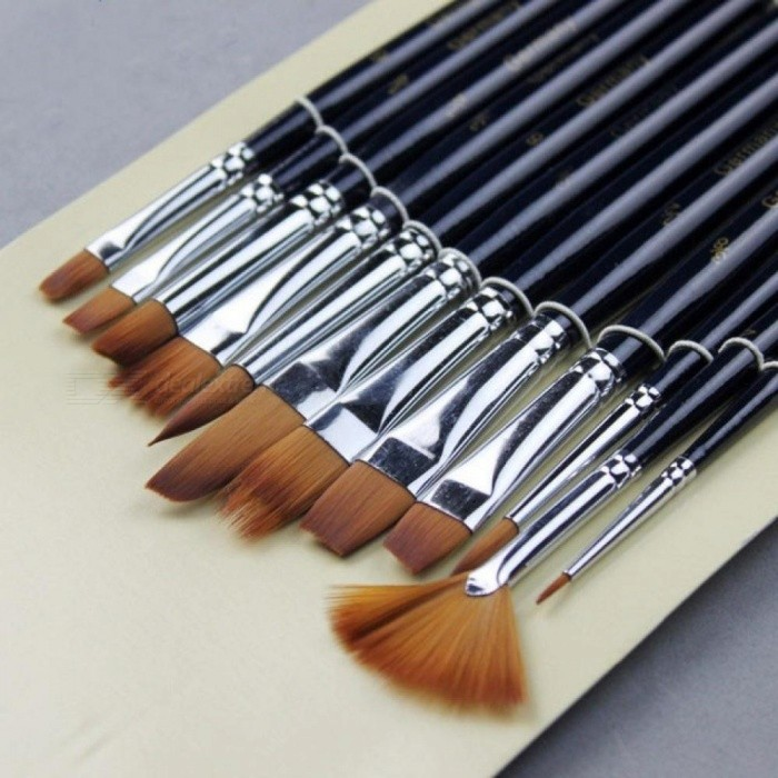12pcs Variety Style Paint Brushes Set Short Handle Nylon Hair Painting Brush Oil Acrylic Brush Watercolor Pen Art Supplies 12pcs/set for sale in Bitcoin, Litecoin, Ethereum, Bitcoin Cash with the best price and Free Shipping on Gipsybee.com