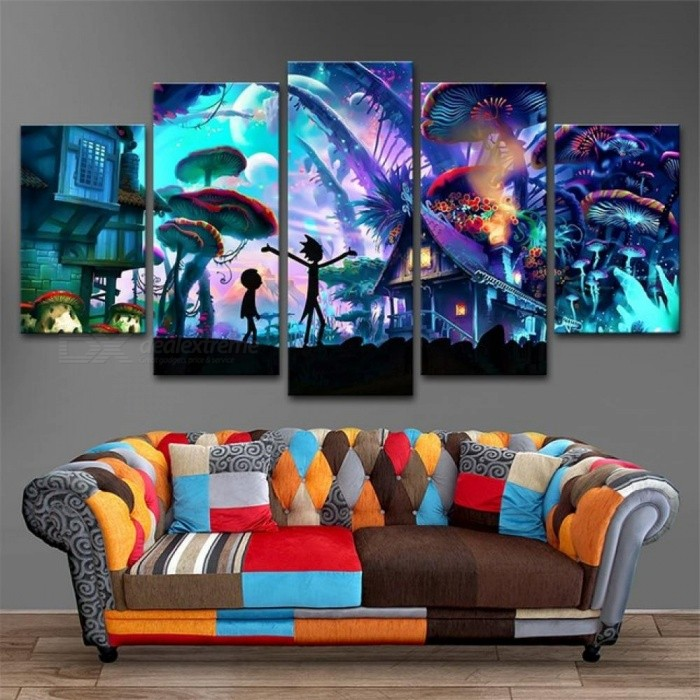 Canvas Wall Art Modular Pictures Home Decor 5 Panels Rick and Morty Paintings Living Room HD Printed Animation  no framed