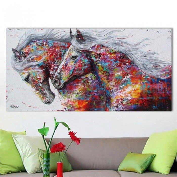 Animal Wall Art Pictures for Living Room Home Decor Canvas Painting The Two Running Horse No Frame