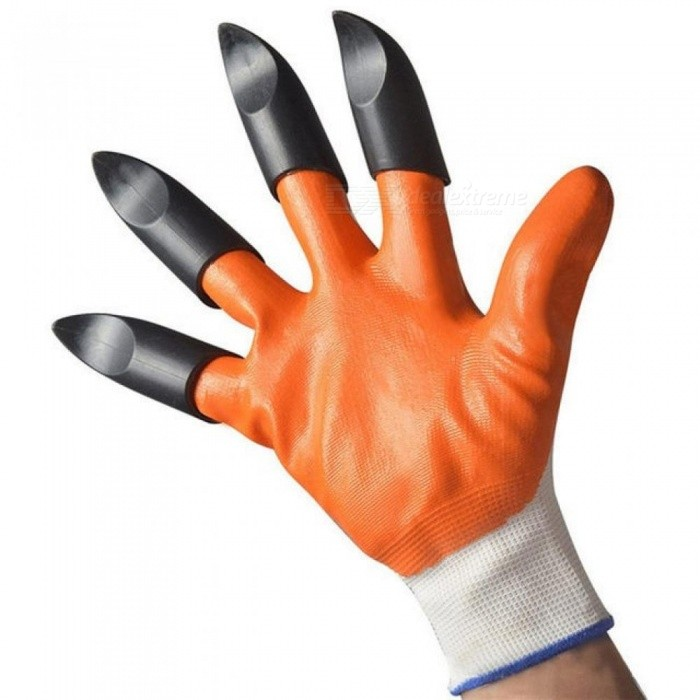 Buy Rubber Gardening Gloves for garden Digging Planting with 4 ABS Plastic Claws Luvas De Jardinagem Aug16 Orange with Litecoins with Free Shipping on Gipsybee.com