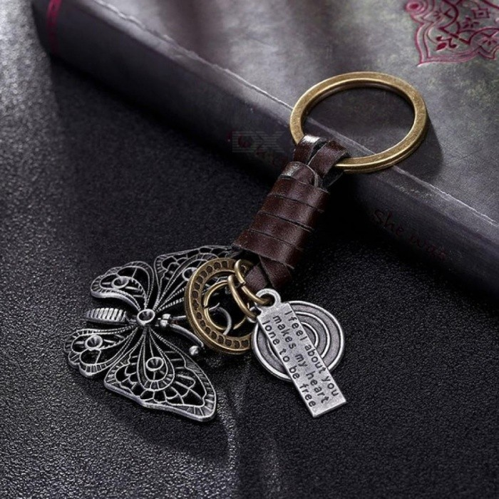 Beautiful Butterfly Suspension Pendant Metal Leather Keychain for Girls Car keys chain Women Bag Handbag Purse Charms Men Gifts As Pictures