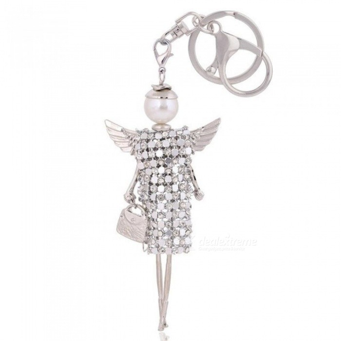 Buy Cute Doll Angel Wings Crystal Keychain Rhinestone Keyring Women Bag Charm Keychain Car Key Ring Pendant KC0126 with Litecoins with Free Shipping on Gipsybee.com