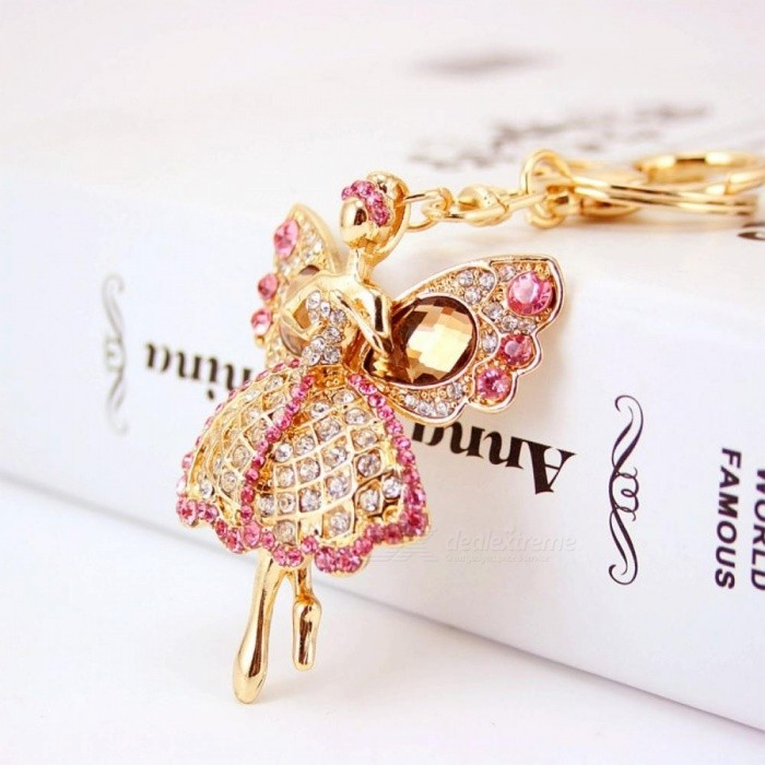 Lucky Angel Wings Elves Crystal Keyrings Key Chains Holder Women Gift Fashion Novelty Trendy Keychains