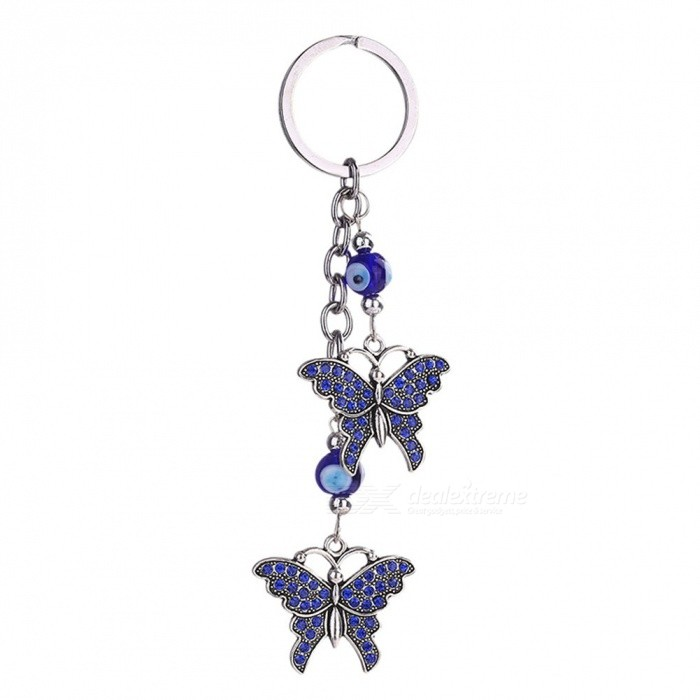 Buy Valentine's Day New Trendy Evil Eye Keychains Cute Animal Crystal Butterfly Keychain Keyring Car Accessories Tower/Tower with Litecoins with Free Shipping on Gipsybee.com