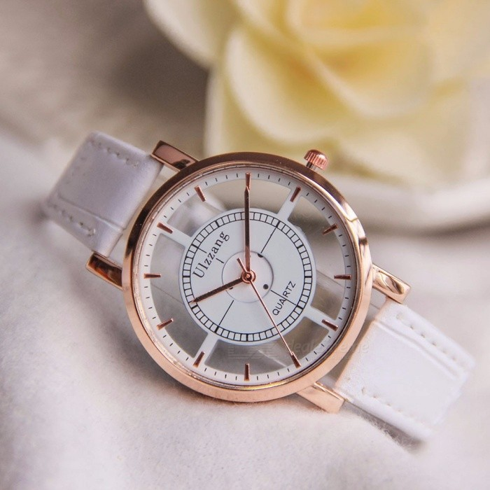 Fashion Women Watch Luxury Unique Stylish Double Hollow Lady Watches Elegant Casual Quartz Wristwatch Gift Girls Clock Black Black