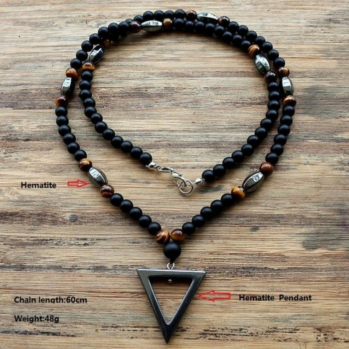 6MM Fashion Tiger Stone Bead Black Men's Hematite Triangle Pendants Necklace Fashion Jewelry New Design 60cm