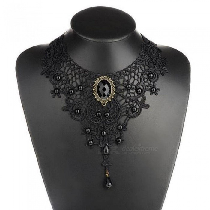 1pc Women Black Lace & Beads Choker Victorian Steampunk Style Gothic Collar Necklace Nice Gift for Women 1 pc