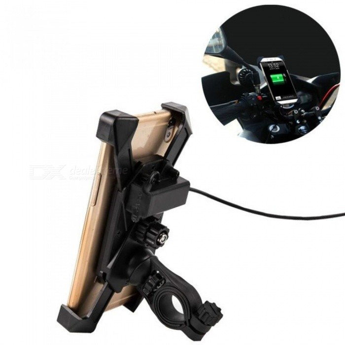 Universal Motorcycle Phone Holder Mobile Stand for Moto Support USB Charger Holder for iPhone X 8 7 Plus S8 S9 S7 Bike Support 1