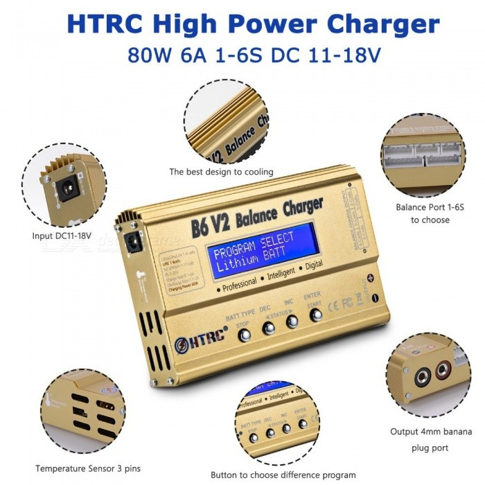 Buy LiPo Battery Charger Balance Discharger HTRC B6V2 80W 6A 1-6S DC11-18V For Li-ion LiFe NiCd NiMH LiHV PB Smart Battery  B6 V2 with Adapter with Litecoins with Free Shipping on Gipsybee.com