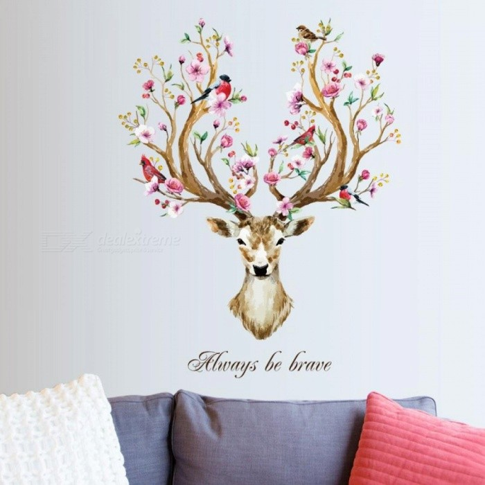 Buy Flower Reindeer Headwall Stickers Decor Living Room Bedroom Restaurant Home Decor Spring Autumn Art Self-Adhesive Mural Poster spring deer head with Litecoins with Free Shipping on Gipsybee.com