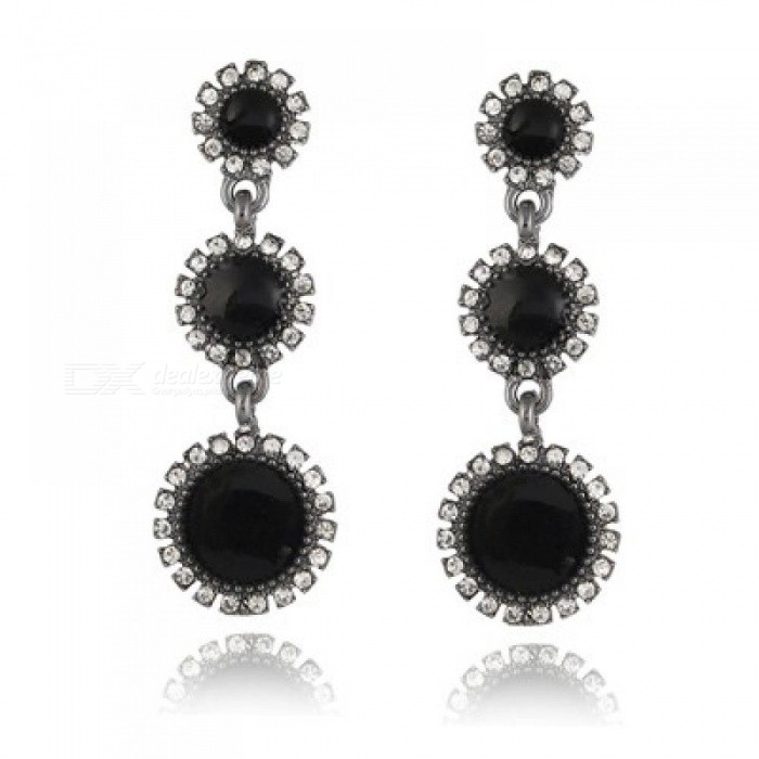 Buy Fashion Wedding Jewelry Round White Black Crystal Long Drop Earrings Elegant Lady High-Quality Rhinestone Dangle Earrings White with Litecoins with Free Shipping on Gipsybee.com