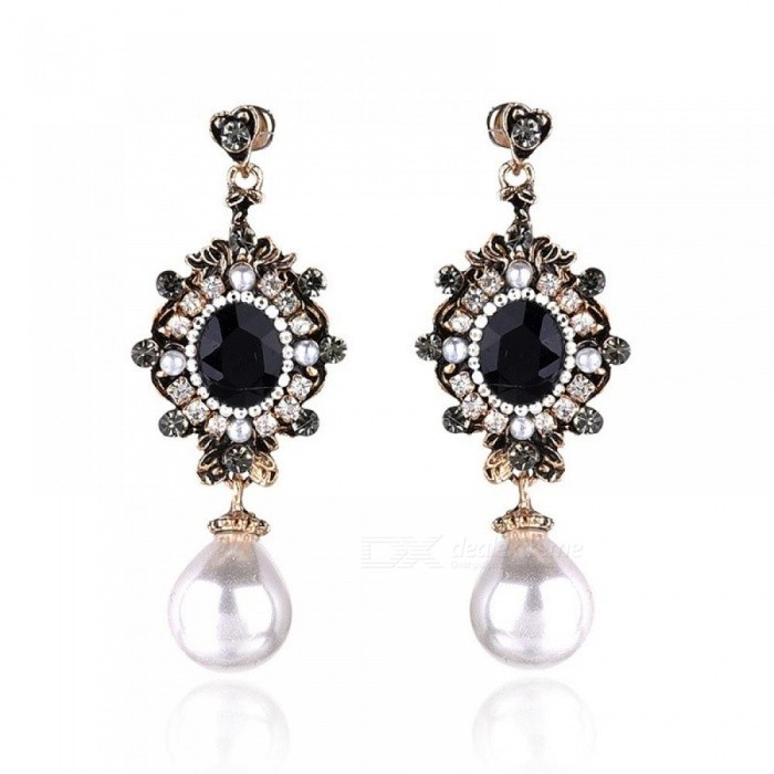 Buy Black Opal Stone Rhinestone Inlaid Antique Metal Drop Earrings Imitation White Pearl Dangle Earrings Vintage Women Jewelry white pearl with Litecoins with Free Shipping on Gipsybee.com