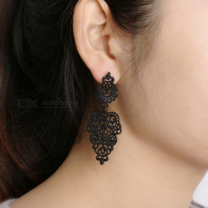 Buy 1 Pair Newest Special Simple Bohemian Long Dangle Earrings Charm Black Hollow Flower Alloy Ear Jewelry  Green with Litecoins with Free Shipping on Gipsybee.com