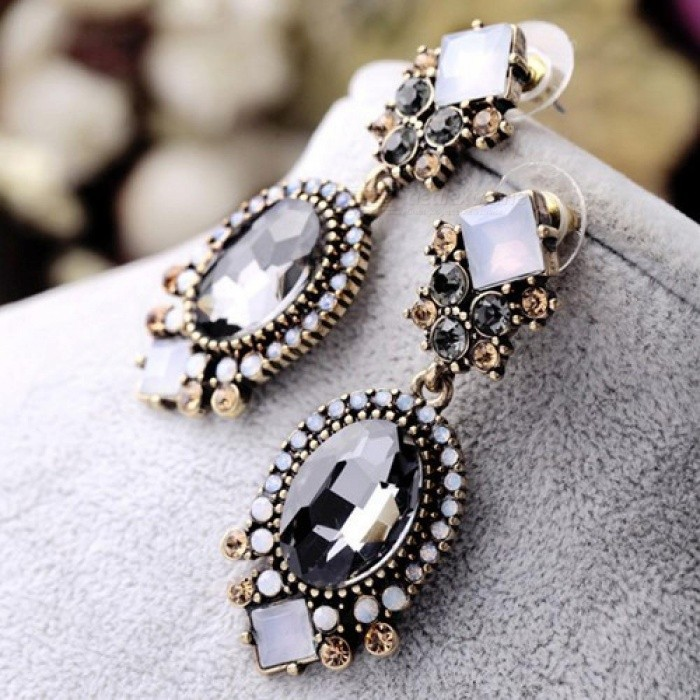 Buy Black Crystal Dangle Earrings for Women Wedding Party Bridal Accessories Trendy Long Fashion Jewelry Holiday Earring eh872 with Litecoins with Free Shipping on Gipsybee.com