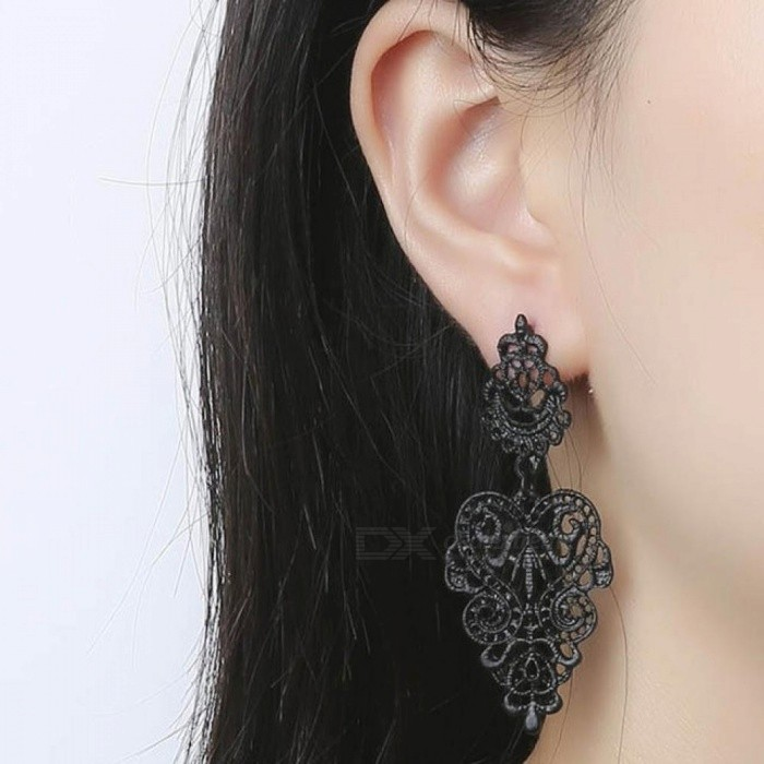 Buy Fashion Women Dangle Earring Bohemia Style Black Alloy Pierced Long Dangle Drop Earrings Jewelry Accessories black with Litecoins with Free Shipping on Gipsybee.com
