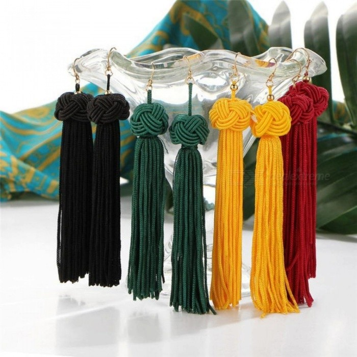 Buy Handmade Tassel Earrings Trendy Black Red Yellow Green Long Dangles Ear Broncos Silk Fringed Jewellery for Women yellow with Litecoins with Free Shipping on Gipsybee.com