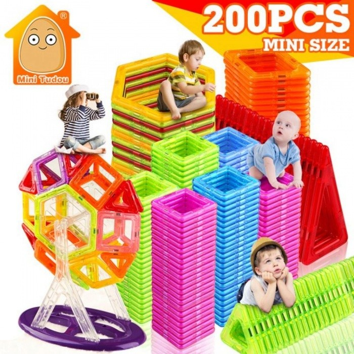 200pcs Mini Magnetic Blocks Building Construction Blocks Toy Bricks Magnet Designer 3D Diy Toys for Boys Girls 200PCS New