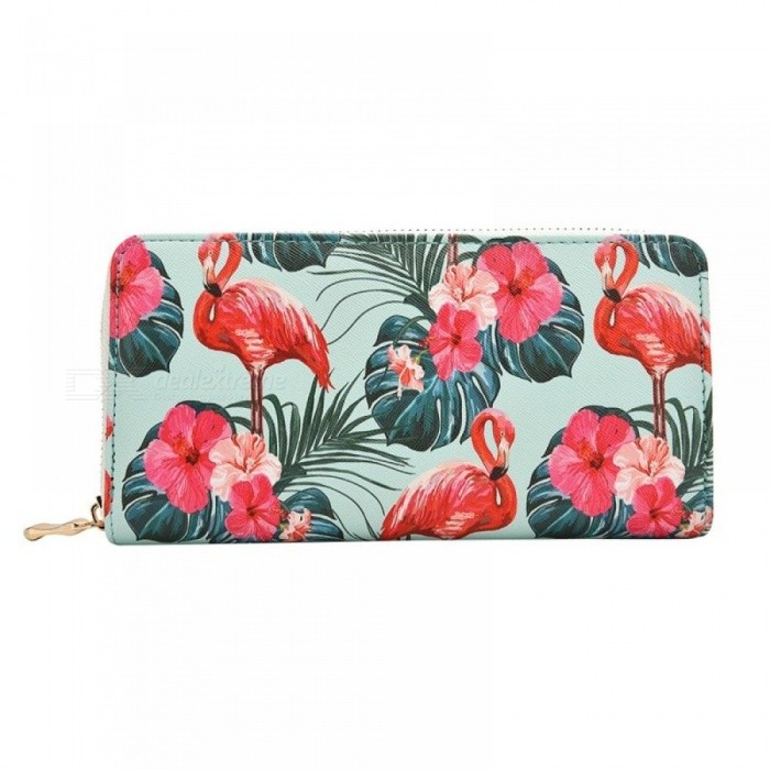 Buy Women's Flamingo Floral Print Fashion Long Purse Large Capacity Clutch Phone Bag PU Leather Ladies Card Holder Wallets Green with Litecoins with Free Shipping on Gipsybee.com