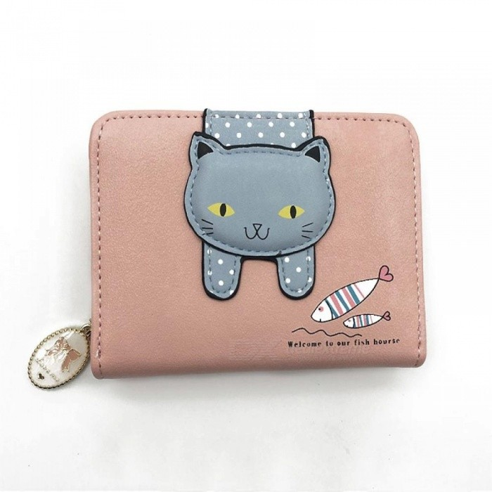 Buy Women Cute Cat Wallet Small zipper Girl Wallet Brand Designed PU Leather Women Coin Purse Female Card Holder Wallet Bilateral Blue with Litecoins with Free Shipping on Gipsybee.com