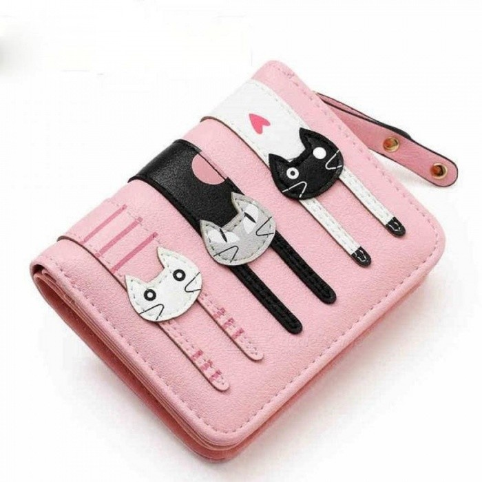 Fashion Lady Women Short Check Purse Cat Lovely Wallet PU Leather Wallet Cardholder Famous Brand Wallet pink