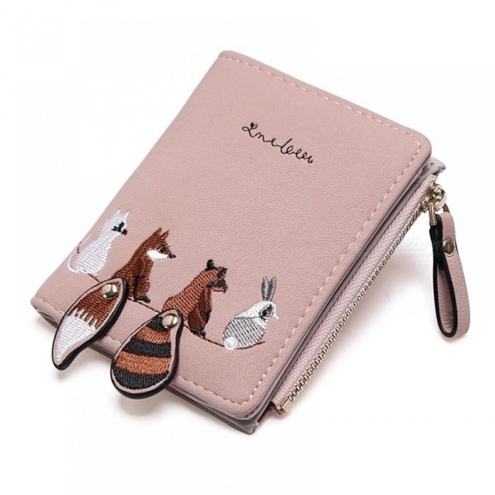 Women's Wallet Lovely Cartoon Animals Short Leather Female Small Coin Purse Hasp Zipper Kid Purse Fashion Card Holder for Girls