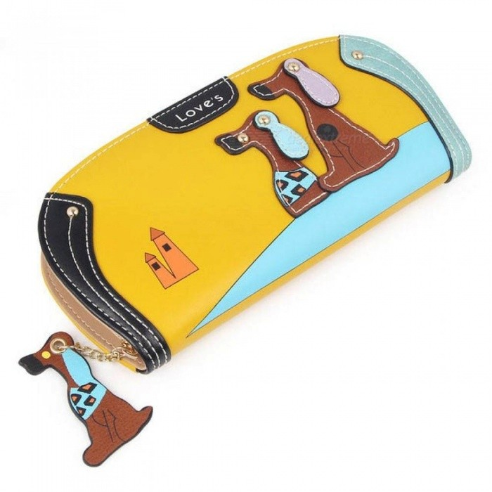 Buy Cute Long Wallet Women PU Leather Cartoon Dog Bag Lady Clutch Phone Case Puppy Zipper Card Holder Female Change Purses Blue Round with Litecoins with Free Shipping on Gipsybee.com