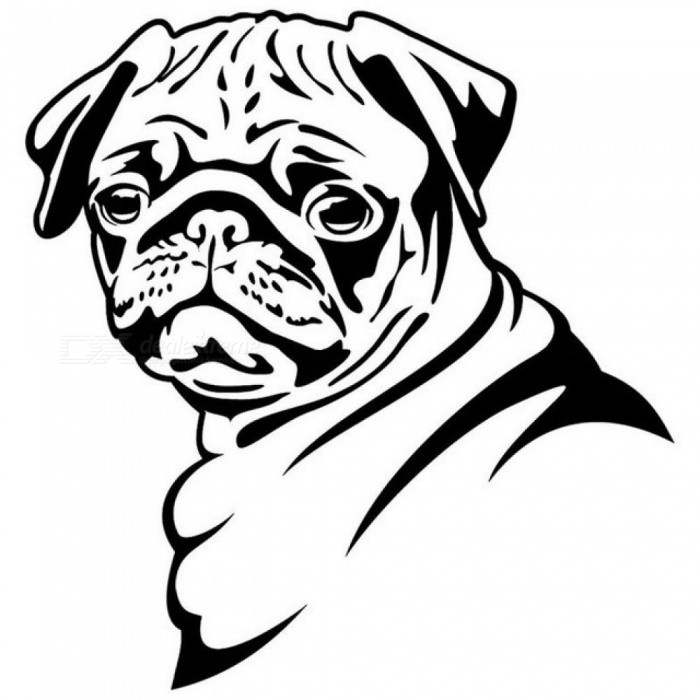 Buy 13.8*14.5CM Pug Dog Car Stickers Funny Cute Vinyl Decal Car Styling Bumper Accessories Black/Silver S1-0817 Silver with Litecoins with Free Shipping on Gipsybee.com
