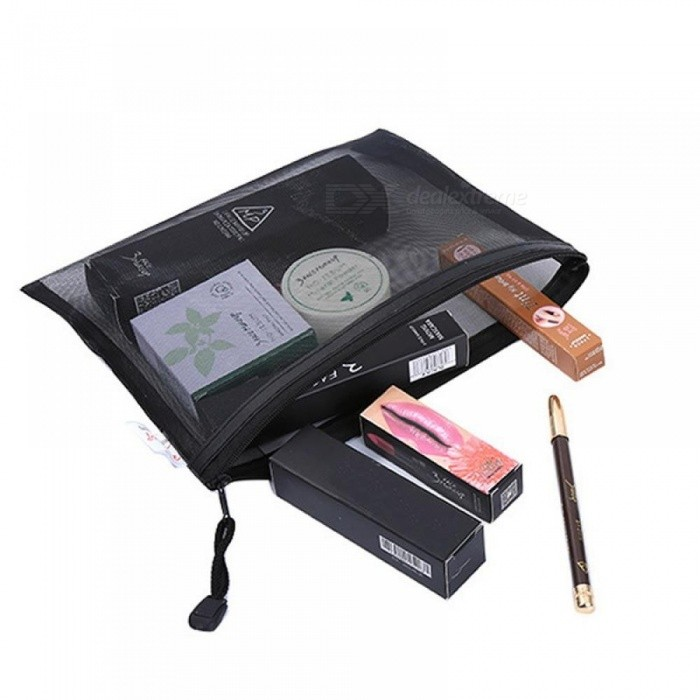 Casual Travel Cosmetic Bag Women Zipper Make Up Transparent Makeup Case Organizer Storage Pouch Toiletry Beauty Wash Kit Bags Black