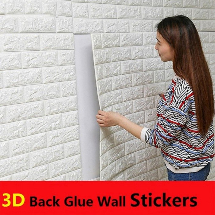 Buy PE Foam 3D Wall Stickers Brick Pattern Waterproof Self Adhesive Wallpaper Room Home Decor for Kids Bedroom Living Room Stickers 70cm X 77cm/Beige with Litecoins with Free Shipping on Gipsybee.com