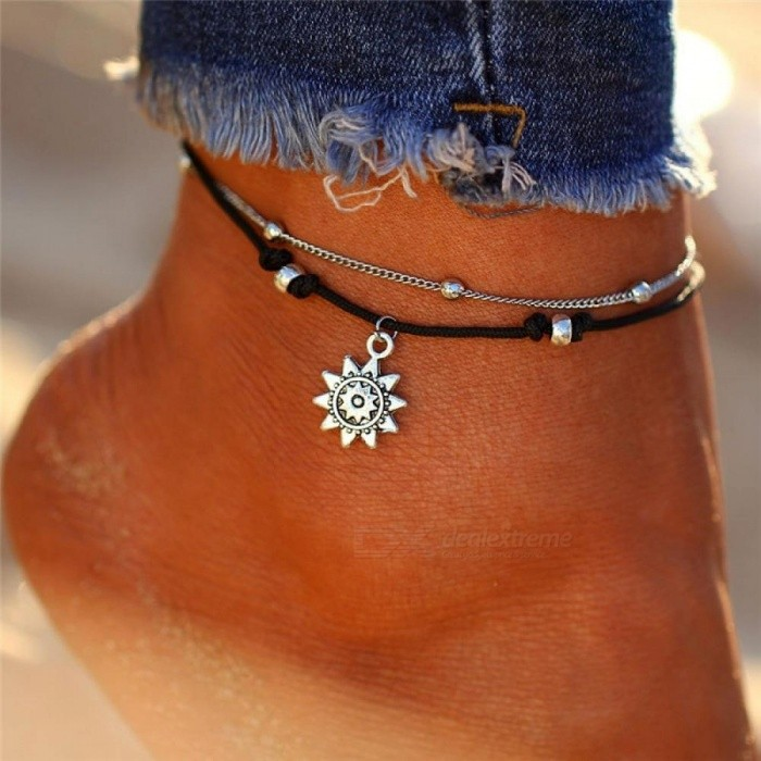 Buy Vintage Multiple Layers Anklets for Women Elephant Sun Pendant Charms Rope Chain Beach Summer Foot Ankle Bracelet Jewelry BJDY732 with Litecoins with Free Shipping on Gipsybee.com