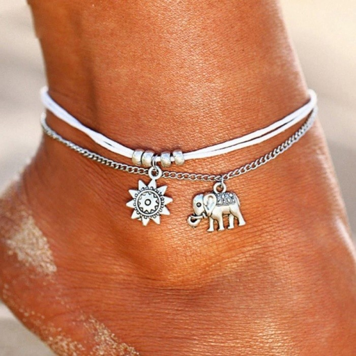 Buy Vintage Multiple Layers Anklets for Women Elephant Sun Pendant Rope Chain Beach Summer Foot Ankle Bracelet Jewelry C with Litecoins with Free Shipping on Gipsybee.com