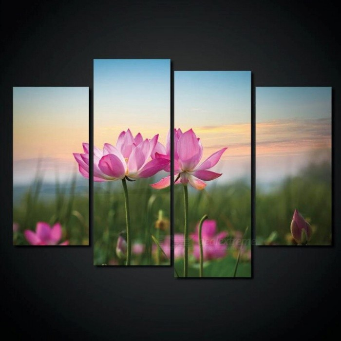 Canvas Painting  with Lotus, Print Flower Pink Lotus Wall Picture for Home Decor  - No.4554