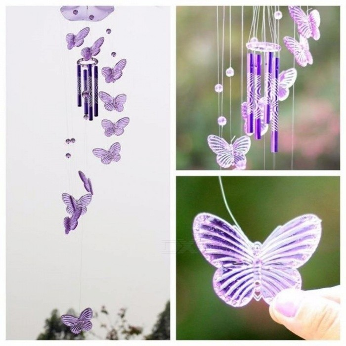 Crystal Butterfly Wind Chime Bell Hanging Dream Catcher Ornament Yard Garden Living Room Decorating Pink
