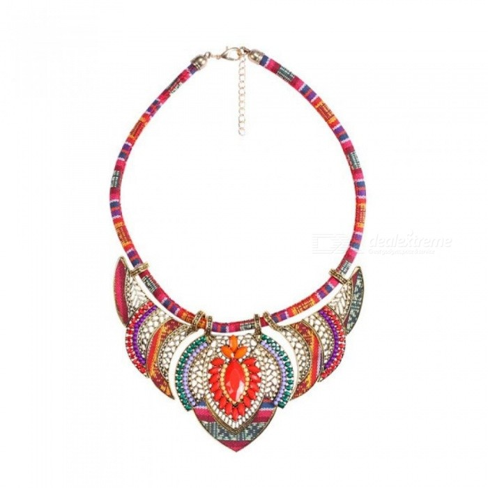 Female Vintage Choker Pendants&Necklaces Big Boho Necklaces Ethnic Bohemian Jewellery Statement Tribal Orange Bijoux 45cm/blue