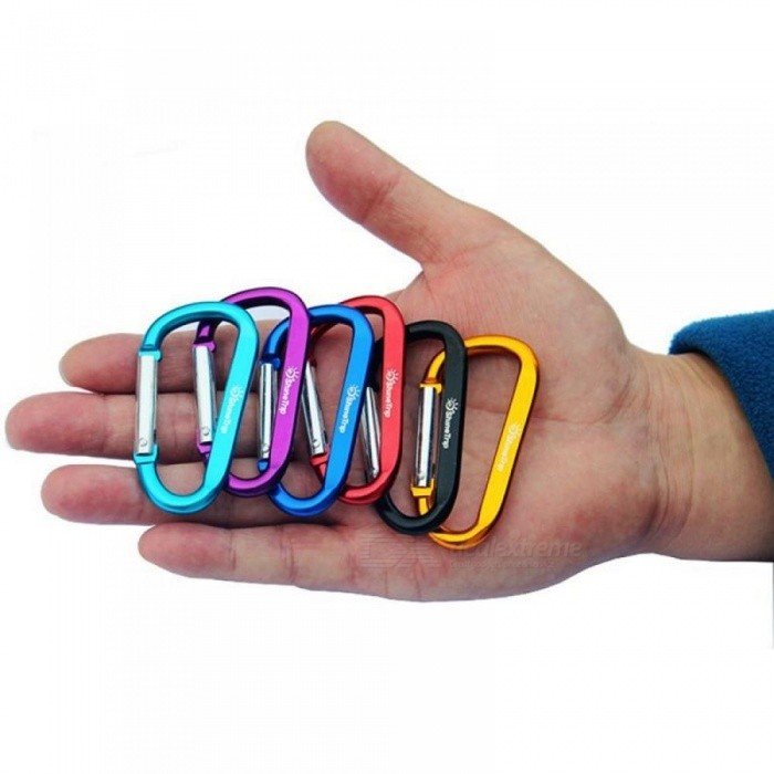 10Pcs ShineTrip Aluminum D Shape Buckle Carabiner Survial Key  Carabine Hook Clip Camping Equipment EDC Paracord Buckles