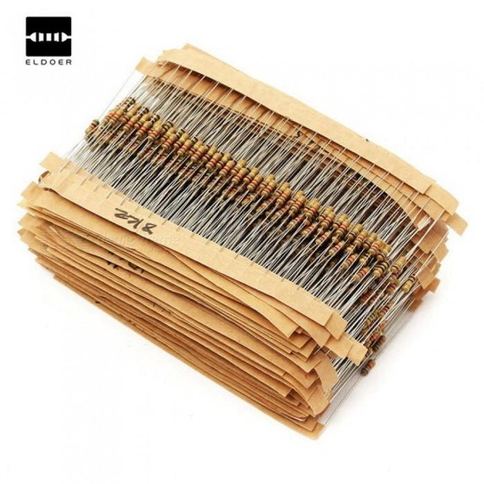 1500pcs 1/4W Power Carbon Film Resistors Assorted kit 75Values (1 ohm~ 10M ohm) Resistance 5% Tolerance Resistor Pack