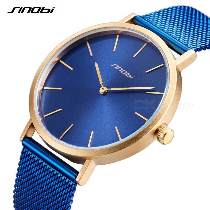 Sinobi 9780 Simple Classic Mens Watches Top Brand Luxury Gold Hands Retro Milan Watchband Blue Black Slim Quartz Wirst Watch New Blue