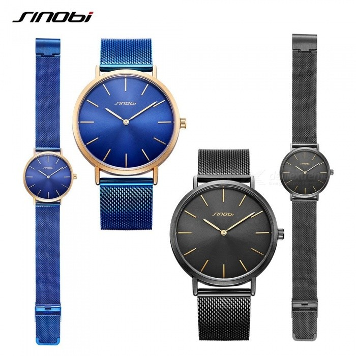 SINOBI 9780 Simple Classic Mens Watches Top Brand Luxury Gold Hands Retro Milan Watchband Blue Black Slim Quartz Wirst Watch New Blue for sale in Bitcoin, Litecoin, Ethereum, Bitcoin Cash with the best price and Free Shipping on Gipsybee.com