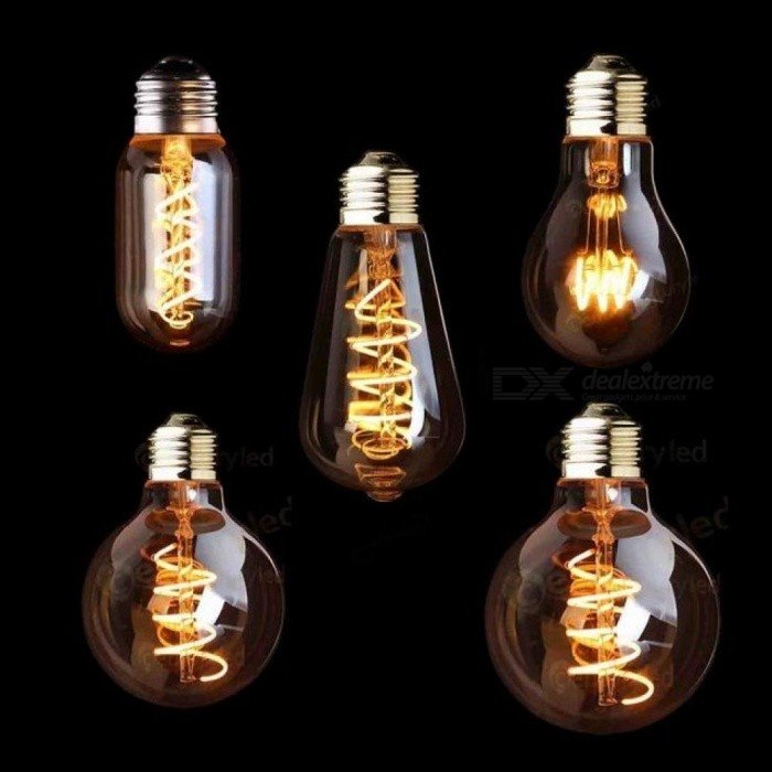 3W E27 220V 2200K Spiral Light LED Filament Bulb Retro Vintage Lamps Decorative Lighting Dimmable Spiral Gold Tint