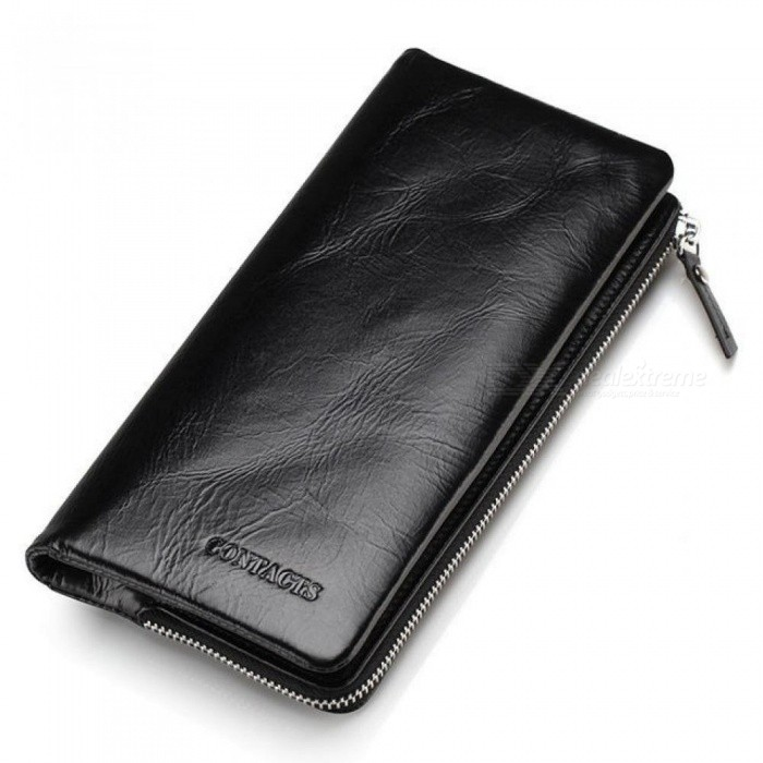 Buy Classical Genuine Leather Wallets Vintage Style Men Wallet Fashion Brand Purse Card Holder Long Clutch Wallet M1003 with Litecoins with Free Shipping on Gipsybee.com