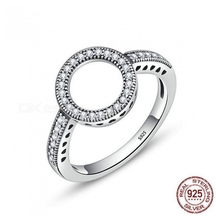 Buy 100% Genuine 925 Sterling Silver Forever Clear Black CZ Circle Round Finger Rings for Women Jewelry Circle Rings SCR112/8 with Litecoins with Free Shipping on Gipsybee.com