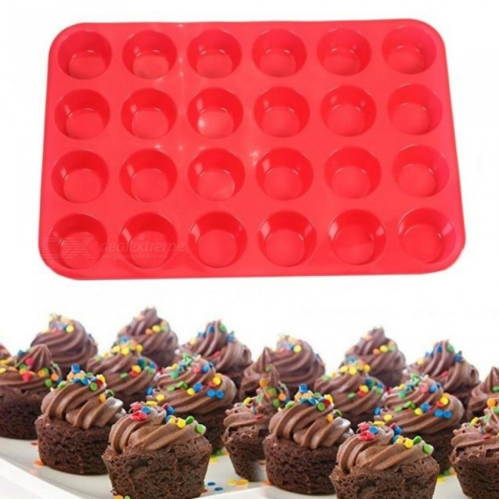 Buy 24-Cup Non-Stick Silicone Baking Mold for Muffins Cupcakes and Mini Cakes Baking Dishes & Pans Eco-Friendly Red with Litecoins with Free Shipping on Gipsybee.com