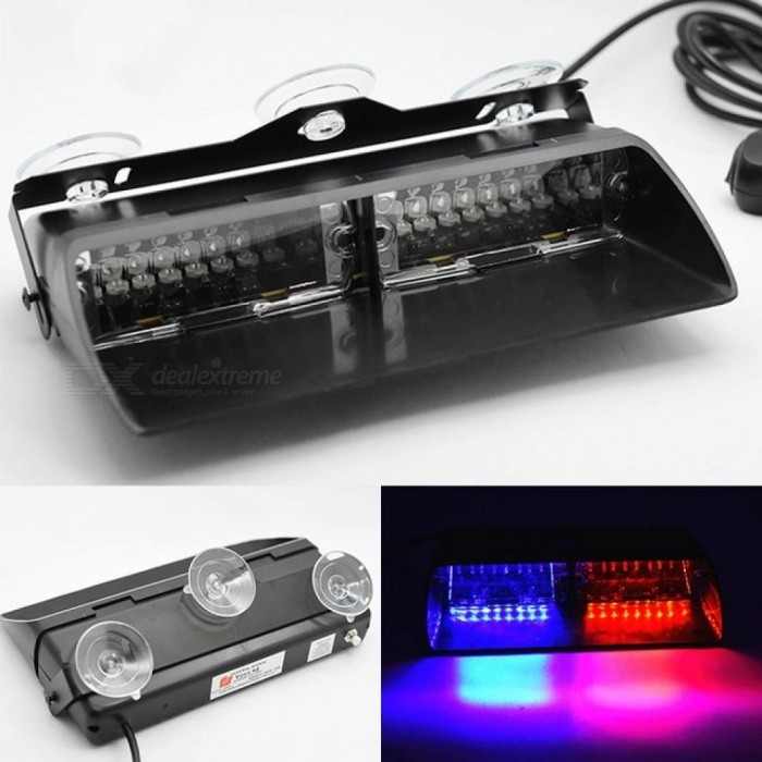 Buy 16 LED Red/Blue Car Police Strobe Flash Light Dash Emergency 18 Flashing Light Warning Lamp White Amber Red Blue Yellow Red And Blue with Litecoins with Free Shipping on Gipsybee.com