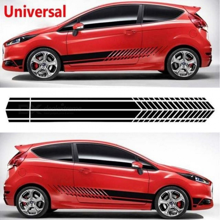 Buy Universal Sports Racing Stripe Graphic Cartoon Stickers Truck Auto Car Body Side Door Decals Glue Sticker Red with Litecoins with Free Shipping on Gipsybee.com