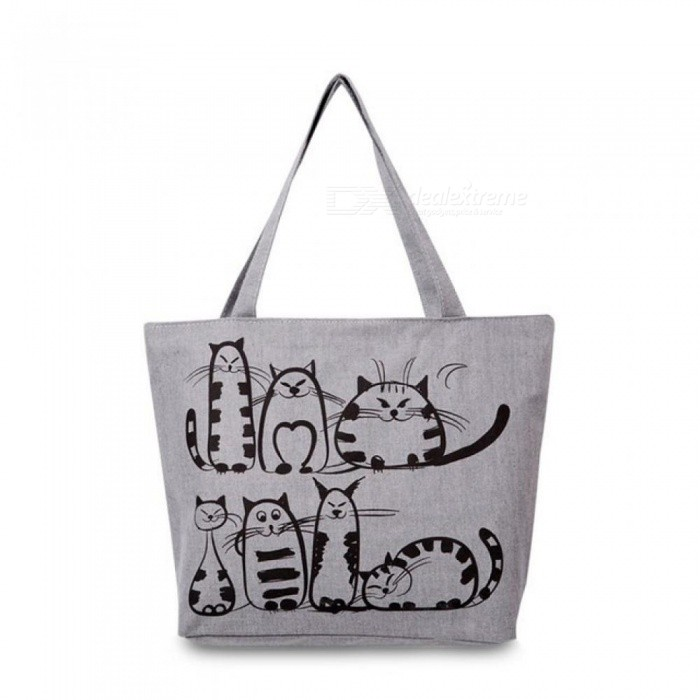 Cartoon Cats Printed Beach Zipper Bag Bolsa Feminina Canvas Tote Shopping Handbags Women Crossbody bags Grey