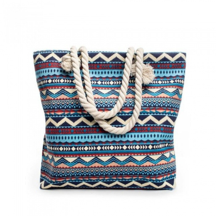 Summer Women Canvas Bohemian Style Striped Shoulder Beach Bag Female Casual Tote Shopping Big Bag Floral Messenger Bags 42X10X35/E
